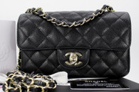 CHANEL 17C Black Caviar Rectangle Mini Classic Lt Gold Hw #23543976 *New