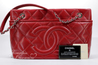 CHANEL Red Caviar Timeless CC Shopper Tote Silver Hw #17340125