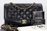 CHANEL Black Caviar 'Vintage Chic' Diana Flap Bag Gold Hw #2929417
