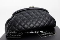 CHANEL Black Caviar Timeless Clutch Bag Silver Hw #11647353