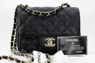 CHANEL 17C Black Caviar Square Mini Classic Lt Gold Hw #23503136 *New