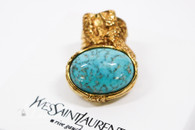 SAINT LAURENT YSL Arty Oval Glass Ring Turquoise/ Gold Size 4