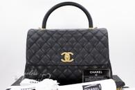 CHANEL 17S Black Caviar Coco Handle Bag Gold Hw #23xxxxxx *New