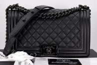 CHANEL 17S 'So Black' Iridescent Caviar Boy Black Hw #24xxxxxx *New
