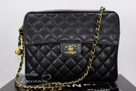 CHANEL Black Caviar Vintage Sac Camera Bag Gold Hw #3257066