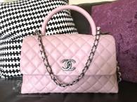 CHANEL 17C Pink Caviar Coco Handle Bag Ruthenium Hw #23496557 *New