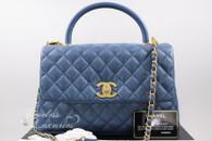 CHANEL 17S Blue Caviar Coco Handle Bag Gold Hw #23xxxxxx *New