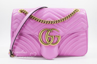 GUCCI GG Marmont Medium Matelasse Shoulder Bag Pink Leather