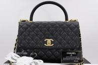 CHANEL 2017 Black Caviar Coco Handle Bag Gold Hw #24xxxxxx *New