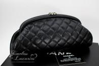 CHANEL Black Caviar Timeless Clutch Bag Silver Hw #10799416