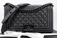 CHANEL 17S 'So Black' Iridescent Caviar Boy Black Hw #24034497 *New
