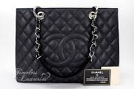 CHANEL Black Caviar Grand Shopping Tote GST Silver Hw #17262716 *New