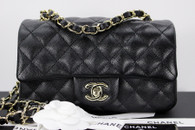 CHANEL 17B Black Caviar Rectangle Mini Flap Lt Gold Hw #24xxxxxx *New