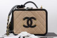 CHANEL Beige/ Black Caviar CC Filigree Vanity Case Bag Gold Hw #24869558 *New