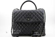 CHANEL Black Caviar Large Coco Handle Bag Ruthenium Hw #22073324 *New