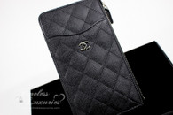 CHANEL 18C Flat Zip Wallet/ Phone Holder Silver Hw #25xxxxxx *New