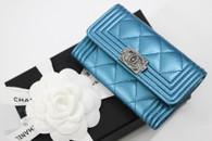 CHANEL Turquoise Caviar Boy Card Holder/ Coin Wallet #24xxxxxx *New