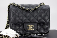 CHANEL 17C Black Caviar Square Mini Classic Flap Lt Gold Hw #23510599