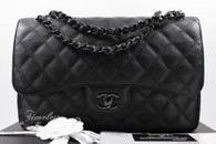 CHANEL 'So Black' Crumpled Calf Jumbo Classic Double Flap Bag #24008872 *New