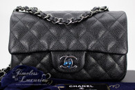 CHANEL 18C Black Iridescent Caviar Rectangle Mini Flap Bag #25xxxxxx *New
