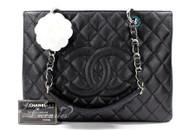CHANEL Black Caviar Grand Shopping Tote GST Silver Hw #20156645 *New