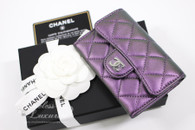 CHANEL Purple Iridescent Card Holder/ Coin Wallet #24xxxxxx *New