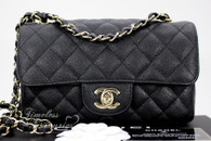 CHANEL 17C Black Caviar Rectangle Mini Flap Bag Lt Gold Hw #23525530