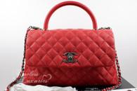 CHANEL 17C Red Caviar Coco Handle Ruthenium Hw #23492545 *New