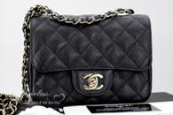 CHANEL 17C Black Caviar Square Mini Classic Flap Lt Gold Hw #23503218 *New