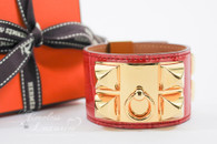 HERMES Bougainvillea Alligator Collier De Chien CDC Bracelet Gold Hw S