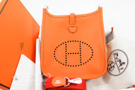 HERMES Mini Evelyne 16 TPM Orange Clemence Palladium Hw *New