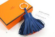 HERMES Carmen Tassel Key Ring Charm Bleu de Malte/ Orange Poppy *New