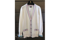 CHANEL 17P Cashmere Cardigan w/ Rainbow Lion Buttons 34 FR *New