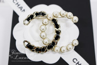 CHANEL Iconic Interlaced Leather and Pearls CC Brooch Lt Gold Hw *New