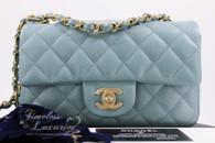 CHANEL 18C Light Blue Iridescent Caviar Rectangle Mini GHW #25xxxxxx *New