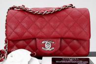CHANEL 17B Dk Red Caviar Rectangle Mini Flap Silver Hw #24580491 *New