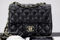 CHANEL 17S Black Lambskin Square Mini Flap Bag Lt Gold Hw #24121603