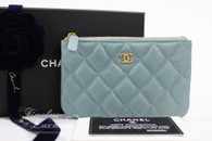 CHANEL 18C Lt Blue Iridescent Caviar Mini O-Case Pouch #25xxxxxx *New