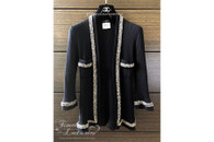 CHANEL 10P Black Cardigan w/ Tweed and Gold Chain Trim 34 FR