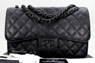 CHANEL 'So Black' Crumpled Calf Jumbo Classic Double Flap Bag #23796235 *New