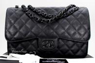 CHANEL 'So Black' Crumpled Calf Jumbo Classic Double Flap Bag #23796235 *New