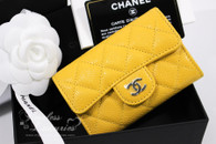 CHANEL 18S Yellow Caviar Card Holder/ Coin Wallet #25xxxxxx *New