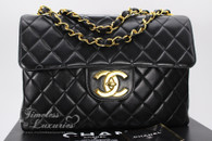 CHANEL Black Lambskin Vintage Jumbo Classic Flap Bag Gold Hw #4529940