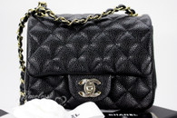 CHANEL 18S Black Caviar Square Mini Classic Flap Lt Gold Hw #25xxxxxx *New