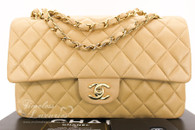 CHANEL Beige Lambskin Classic Double Flap Bag Gold Hw #7667554