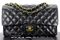 CHANEL Black Lambskin Classic Double Flap Bag Gold Hw #8849217