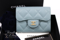 CHANEL 18C Lt Blue Iridescent Caviar Cardholder Wallet #25xxxxxx *New