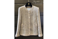 CHANEL 2016 16C Paris Seoul Pearly Tweed Classic Jacket 34 FR Beige
