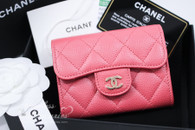 CHANEL 18S Pearly Pink Caviar Card Holder w Back Pocket #25xxxxxx *New