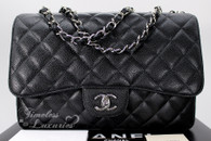 CHANEL Black Caviar Jumbo Classic Single Flap Silver Hw #13631236